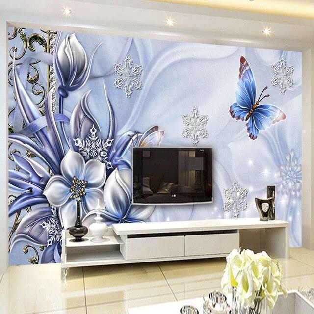 Kustom Foto Wallpaper Gaya Eropa Pola Bunga Kupu Kupu