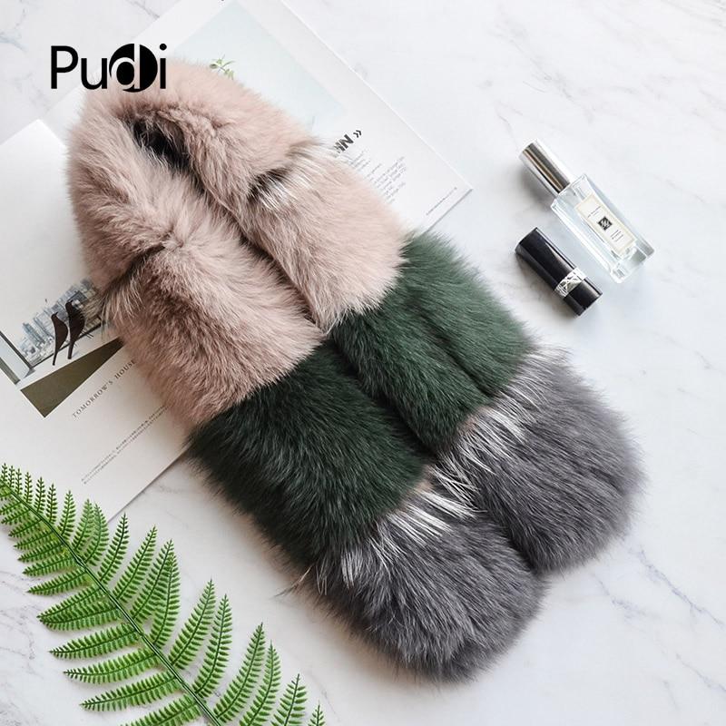 Pudi SF822 genuine fox fur   scarf     wrap   shawl 2018 new patchwork real fox fur pashmina   scarves   shawls   wraps   grey silver fox