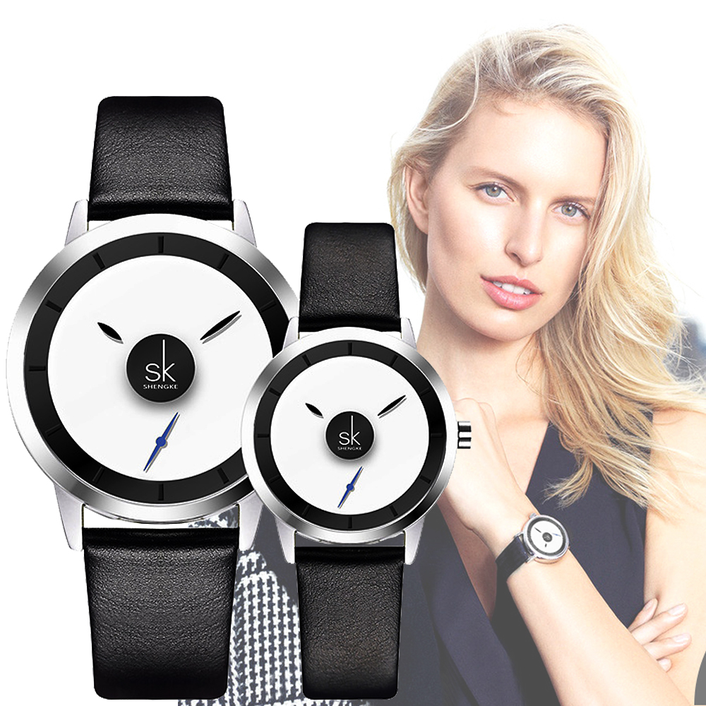 Shengke Minimalist Creative Dial Style Women Quartz Watches Men And Ladies Dress Wristwatches Lovers' Black Leather Clock Hours