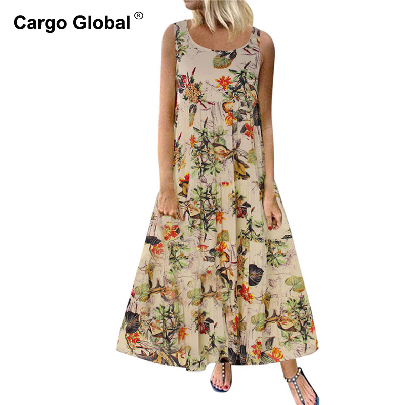 Dresses Women Plus Size Bohe O-Neck Floral Print Vestidos Vintage Sleeveless Long Maxi Dress 2019(China)