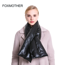 FOXMOTHER New Styles Fashion Black Fluffy Down Scarf Neck Warmer Collar Scarves Womens Dropshipping wb 01 fashion knitting wool collar scarf neck warmer pink