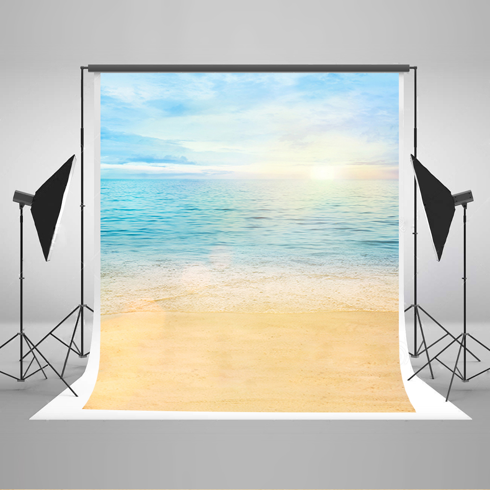 Wedding Photo Backdrops The Blue Sky And White Clouds Photo Backdrop Vinyl Sunrise Sea Beach Backdrops for Photographic Studio seaside beach white clouds and blue sky photo backdrop high grade vinyl cloth computer printed wedding backgrounds
