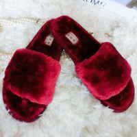 Di inverno Delle Donne di Casa Pantofola Pantofole di Peluche pelliccia di diapositive Fluffy Faux Non-antiscivolo Sandali Piatti Femminile casual Scarpe Zapatos Mujer