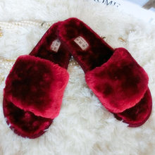 7cdabbcc1438 Women Plush Slippers Winter Fluffy Slides Faux Fur House Slipper Not-slip  Flat Sandals Female