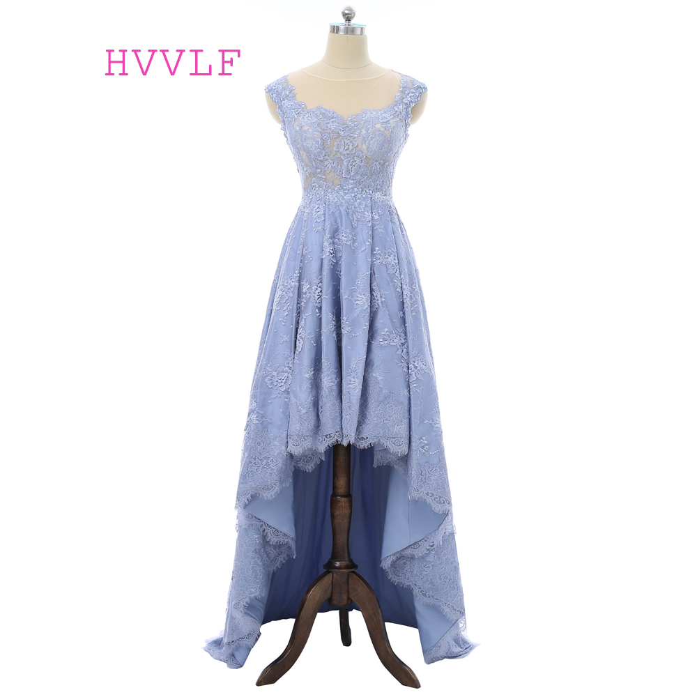 Sky Blue 2019   Prom     Dresses   A-line Cap Sleeves Short Frong Long Back Lace See Through Long   Prom   Gown Evening   Dresses   Evening Gown