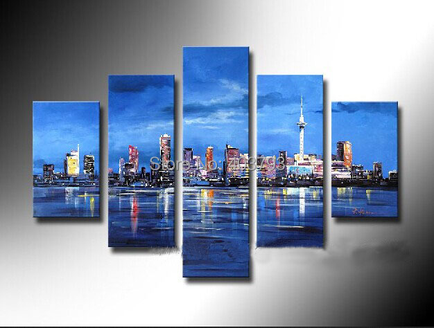 MODERN ABSTRACT HUGE LARGE CANVAS ART OIL PAINTING 5P abstract city paintings for decoration no framed in Painting Calligraphy from Home Garden