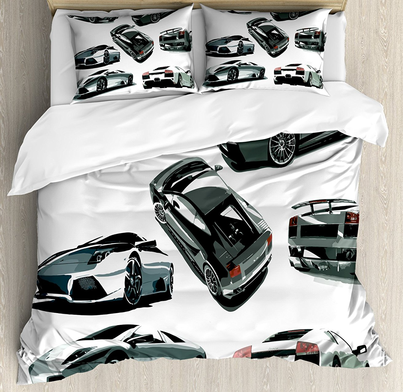 Modern Duvet Cover Set Grey Cars From Various Angles Automobile Industry Theme Vehicle Decorative 4 Piece Bedding Set White