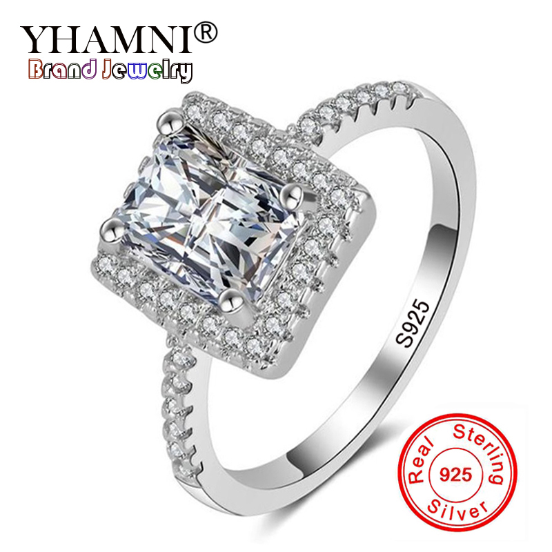 YHAMNI Fashion Jewelry Real Solid 925 Sterling Silver Rings for Women Set 5A CZ Zircon Jewelry Engagement Ring Band Wedding R029