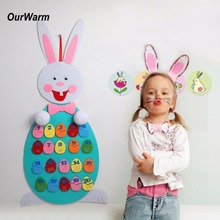 OurWarm Easter Decoration Easter Eggs Decor Felt Bunny Number Puzzle for Kids Preschool Educational Toys Birthday Party Supplies