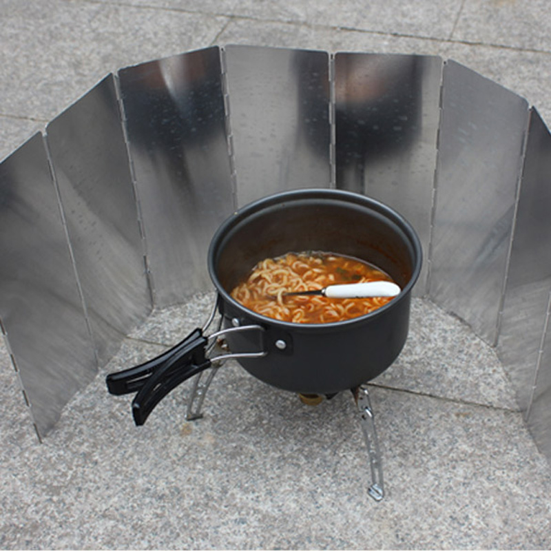1 x 8 Plates Cooker Wind Screen Aluminum Alloy Outdoor Picnic Folding Camping Picnic Cooker Stove Wind Screen Windshield