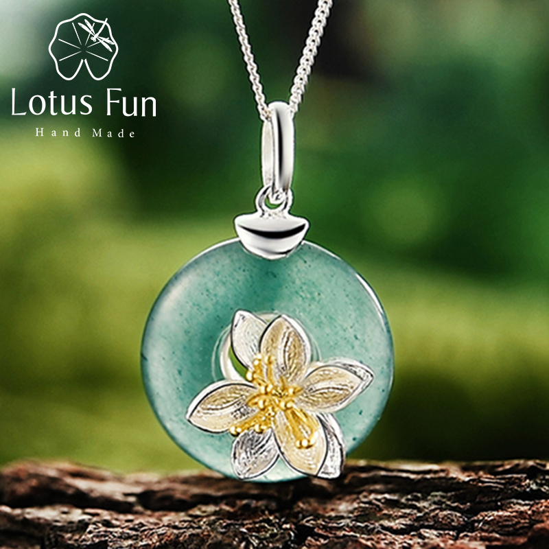 Lotus Fun Real 925 Sterling Silver Natural Green Stone Handmade Design Fine Jewelry Lotus Whispers Pendant without Necklace : 91lifestyle