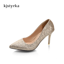 Kjstyrka 2018 Sequined cloth women pumps red bottom high heel sexy Pointed Toe ladies Slip-On Elegant party wedding shoes