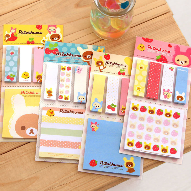Cute Kawaii Strawberry Memo Pad Post It Sticky Notes Creative Decorative Adhesive Writing Pads For Kids Gif School Supplies
