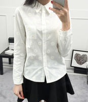 Free Shipping  High Quality Sweet Turn-down Collar Flower Printed Long Sleeve Woman Cotton Blouse