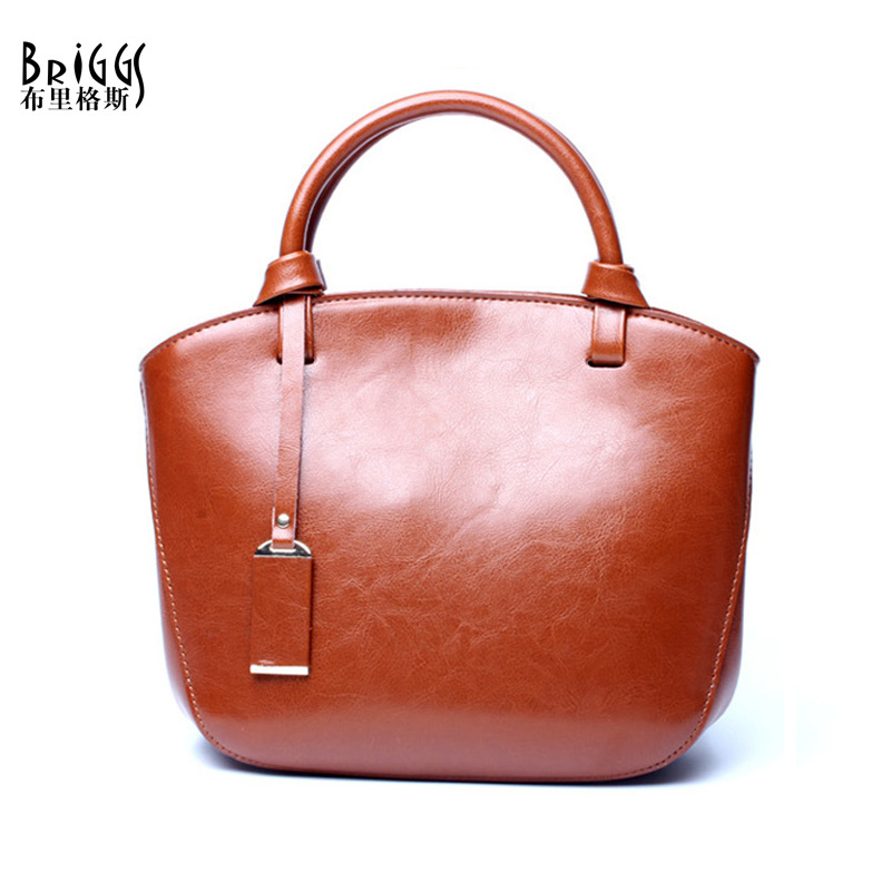 BRIGGS Brand Genuine Leather Women Handbag Vintage Leather Shoulder Bag Famous Design Messenger Bag Casual Tote Top-handle Bag paste brand design women casual tote bag genuine leather female vintage handbag 2 shoulder straps ladies shoulder messenger bag