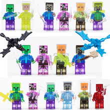 Mine World Shadow Dragon Crystal Man Steve Alex Skeleton Building Block My Craft Brick Kids Toys Compatible Legoe gift(China)