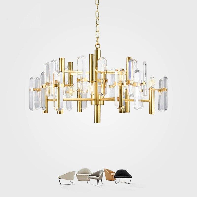 Postmodern Pendant Lights Personality LED Pendant Lamp Bronze Designer Soft Crystal Pendant Light Nordic Simple Champagne Gold