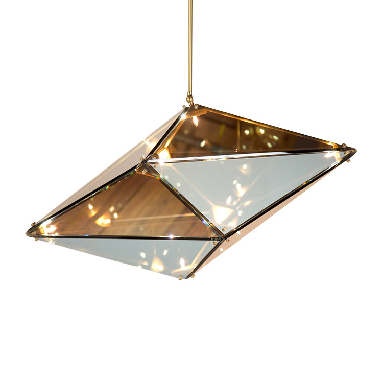 Creative Grey/amber Crystal Glass Led G4 Pendant Light Fixture Lustre Cristal Suspension Lamp