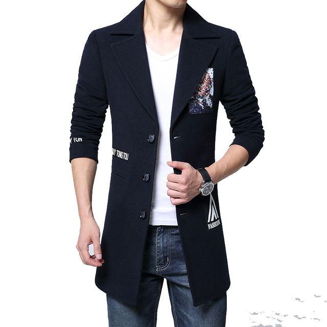 2016 зима печатных тонкий плащ Мужчины однобортный Траншеи Пальто Мужчины Верхняя Одежда Повседневная мужская Куртка Ветровка М-4XL