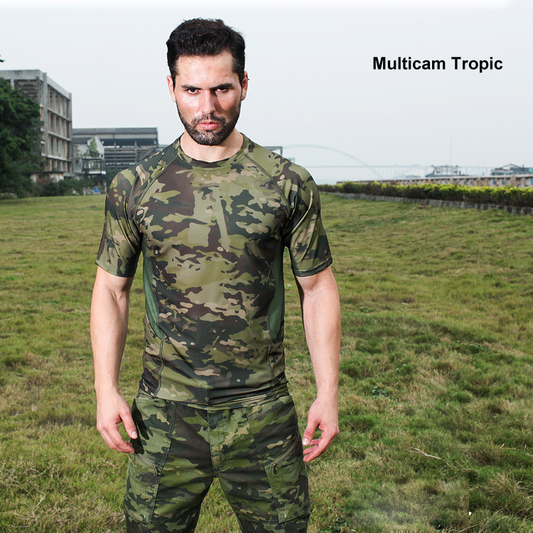 Multicam Camouflage Quick dry Short Sleeve Tactical font b Shirt b font Lightweight Tight Compression font