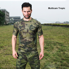 Multicam Camouflage Quick-dry Short Sleeve Tactical Shirt Lightweight Tight Compression Shirt Mesh Patch Breathable T Shirt