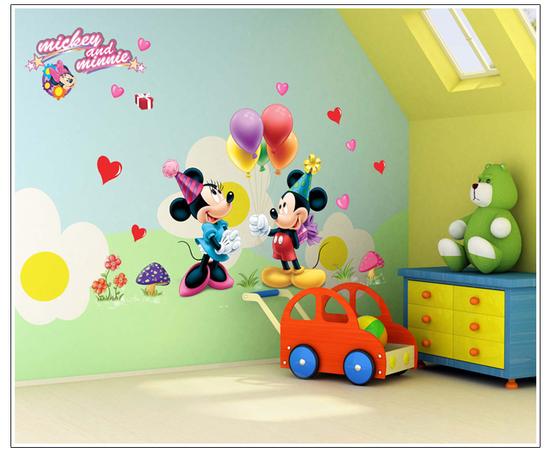 Aliexpress.com : Buy Mickey Mouse And Minnie Mouse Wall Sticker Children  Room Nursery Decoration Diy Adhesive Mural Removable Vinyl Wallpaper From  Reliable ...