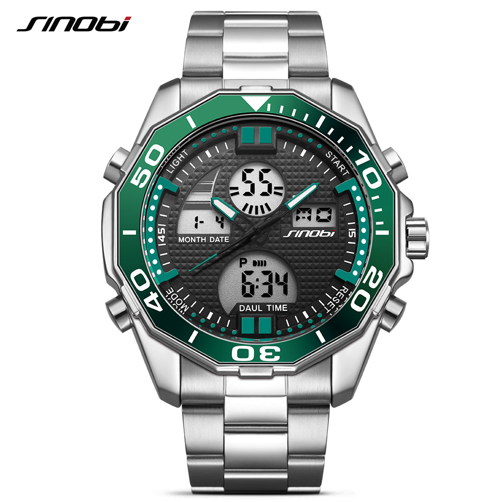 Sinobi Men's Top Luxury Brand Sport Watches Men LED Digital Waterproof Stainess Steel Quartz Watch Man Clock Relogio Masculino 2017 new top fashion time limited relogio masculino mans watches sale sport watch blacl waterproof case quartz man wristwatches