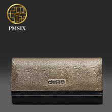 Pmsix 2017 New women genuine leather clutch Classical design black long wallet female money bags P410017