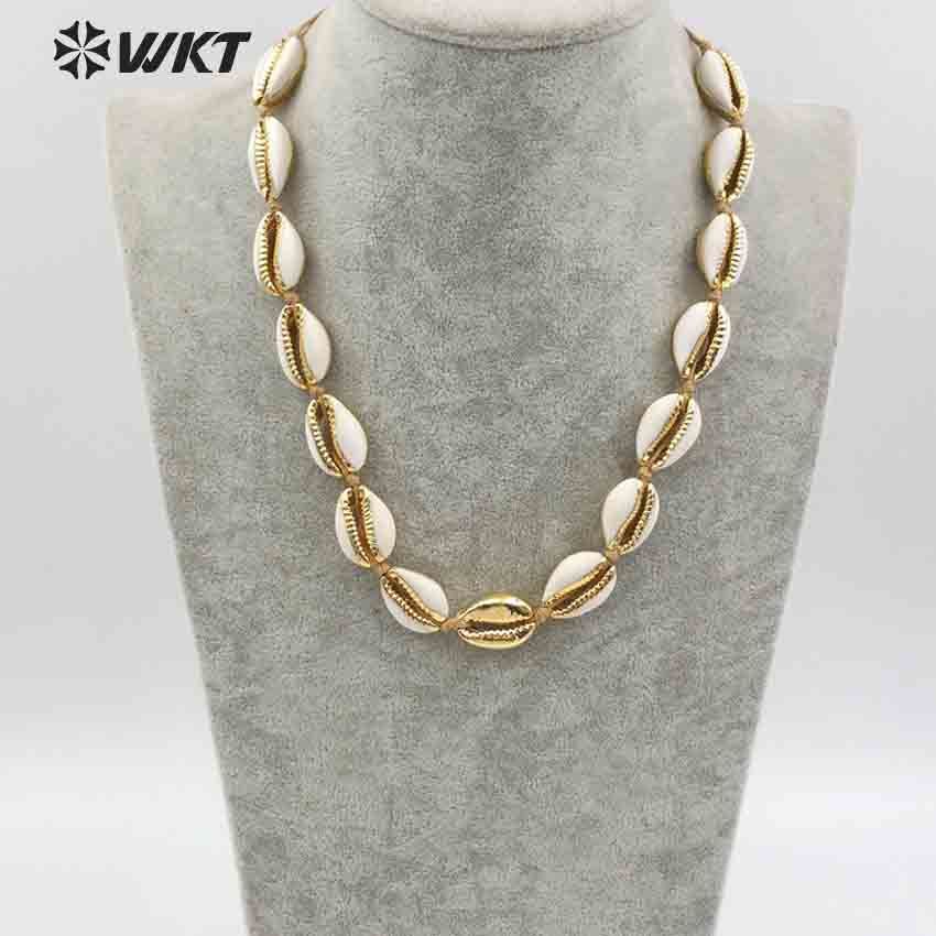 WT JN038 Wholesale Fashion Design natural sea cowrie in gold filled Necklace with 24k gold electroplated