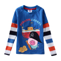 Kids Long Sleeve T-shirts 2016 Autumn New Arrival Cartoon Pig George Print Boys Tops Cotton Black Blue For 18M-5Y GT09