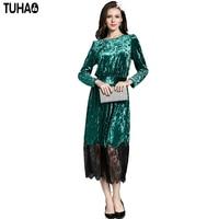 TUHAO Lace Velvet Dress High Waist Elegant Autumn Winter Women S Dresses Green Vintage Female Clothes