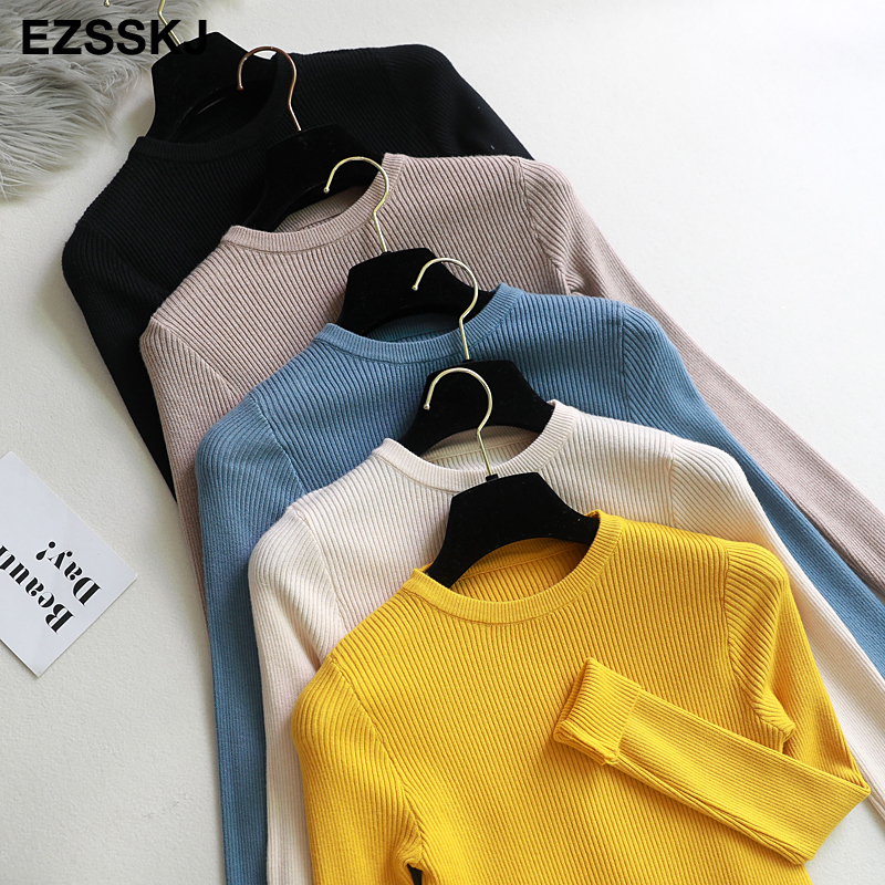 2020 Knitted Women o-neck Sweater Pullovers spring Autumn Basic Women Sweaters Pullover Slim Fit Black cheap top(China)