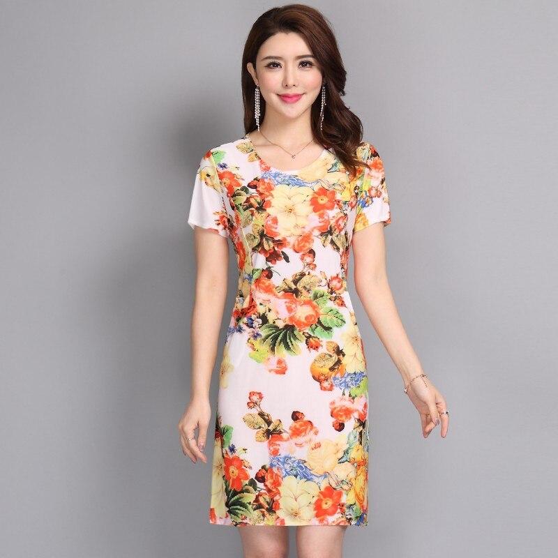 Vestido longo apressado vestido feminino e verão novo 2019 vestido feminino magro era fino grande-tamanho de manga curta impressão tamanho S-5xl