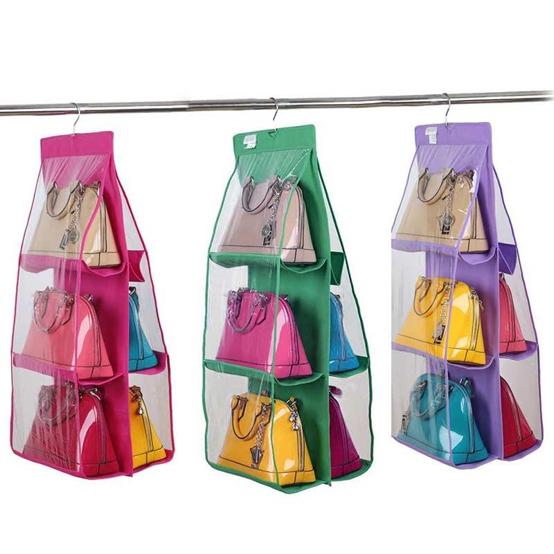 2016 Hot Pocket PVC Storage Bag Closet Wardrobe Rack Hangers Holder Fashion Handbag  Purse Pouch Bags
