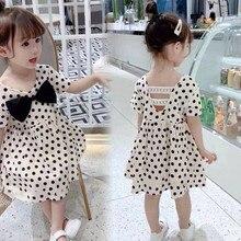 Toddler Dress 2019 Summer Kids Girl Short Sleeve Dot Print Bowknot V-neck Princess Dress Cotton Preppy Style Girls Dress 2-8Yrs цена 2017