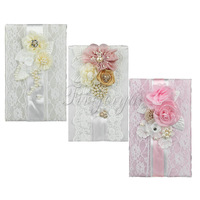 3Colors Gorgeous Wedding Signature Guest Book With Satin Bows Lace Pearls Flowers For Brdial Ceremony Party