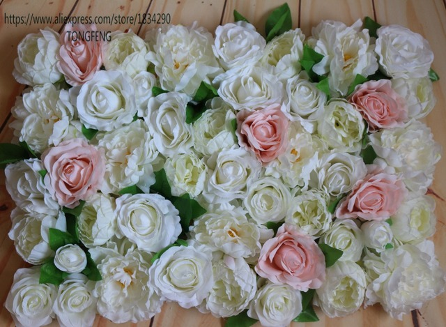 Artificial Flower Wall Silk Rose And Peony Wedding Background Decoration  Table Centerpiece Flower Mixcolor 10pcs/