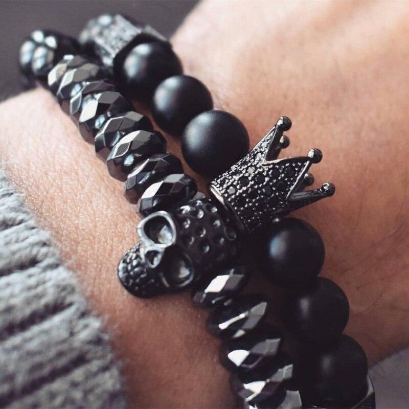 MKENDN Men Bracelet Crown Bracelets Warrior Jewelry Skull Skeleton Titanium Steel Skull Bangle Bracelets Men Jewelry Halloween