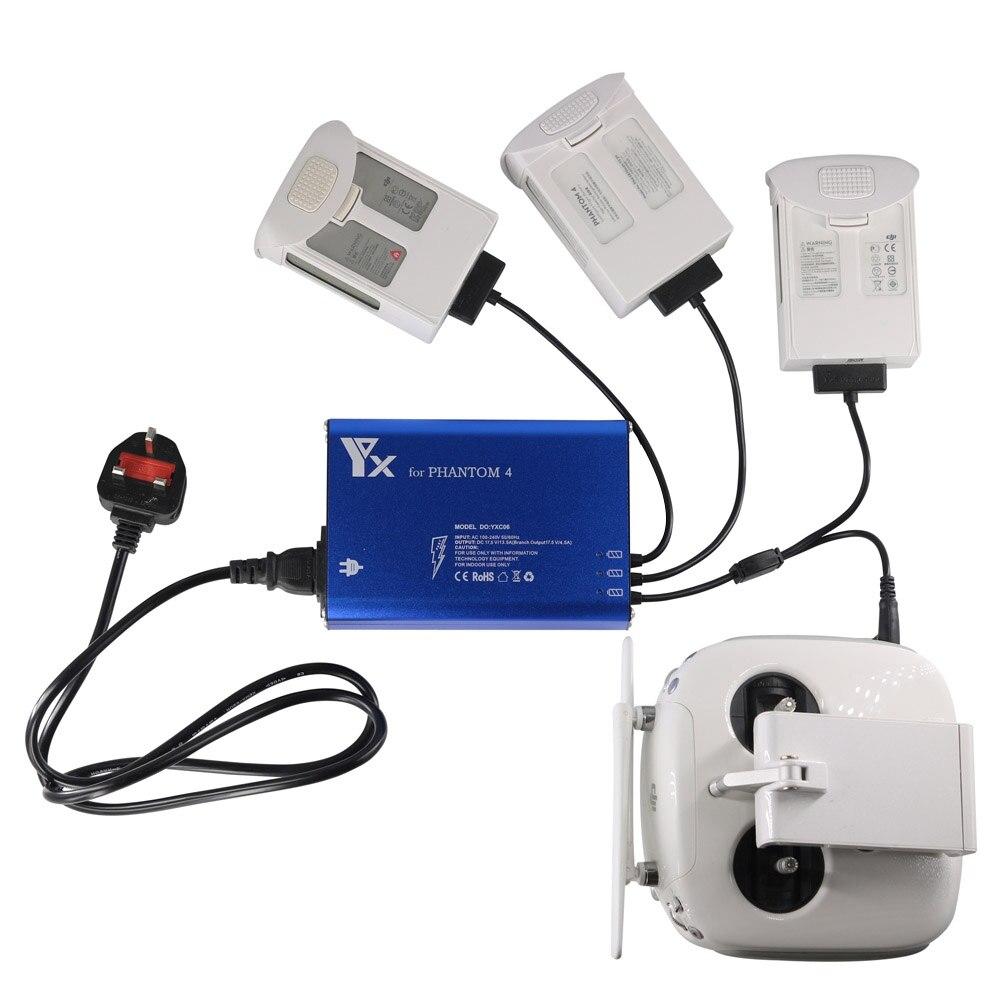 4 で 1 スマート充電器 DJI ファントム 4 プロ 4A ドローン電池は、リモートコントローラと 2 USB ポートクイックパラレル充電ハブ  グループ上の 家電製品 からの ドローン バッテリー 充電器 の中 1