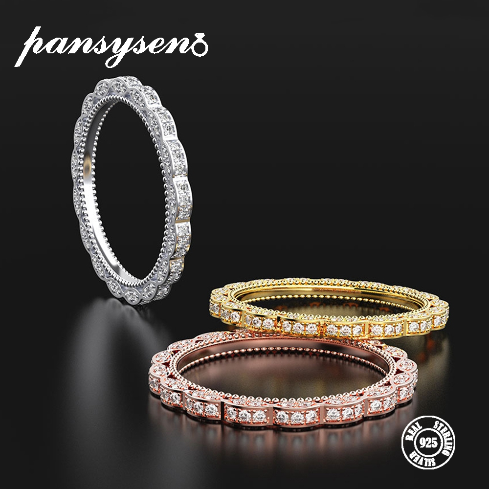 PANSYSEN Top Brand 3 Color Fashion Women's Wedding Couple Rings Luxury Zircon Stackable Promise Rings Fine Jewelry Accessories