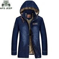 Afs Jeep 2017 Winter New Denim Jackets Men Thick Warm Fleece Mens Jacket And Coats Windbreaker