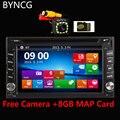 AutoRadio 2Din Car DVD Player GPS de Navegação Bluetooth USB SD FM rádio Do Carro de Áudio MP3 MP4 MP5 Player Com 12LED Rear View câmera