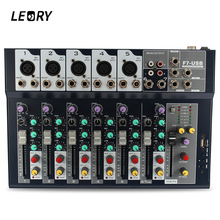LEORY Professional Karaoke Audio Mixer 7 Channel Microphone Sound Mixing Amplifier Console With USB Built-in 48V Phantom Power