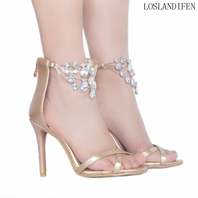 5695a1585f6 ... Real Pic High Heel Sandals Crystal Strap Sexy Summer Elegant Office ... Sexy  Summer Back Strap Bling sandals Rhinestone Studded Party Sandals Stiletto  ...