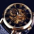 2017 NUEVOS hombres del Reloj de pulsera de Lujo Casuales de Cuero sport Automatic Skeleton Mechanical Watches Hot Relojes Masculino del relogio masculino