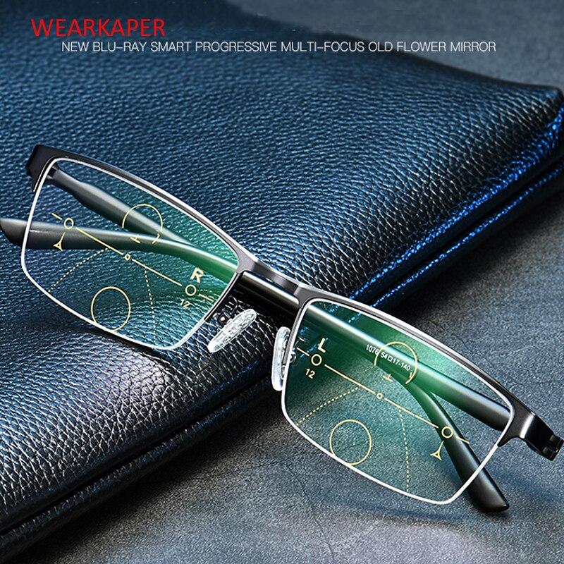 WEARKAPER Men Titanium Alloy Resin Progressive Lenses Reading Glasses Women Fashion Square Classic Multifocal Glasses Men 1-3.5