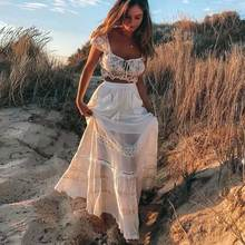 BOHO INSPIRED White Maxi Skirt patch pockets tassel tied skirts women
