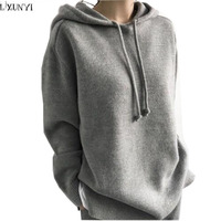 LXUNYI Autumn Winter Warm Solid Loose Hooded Sweater Woman Korean Long Sleeve Casual Womens Pullover Sweaters