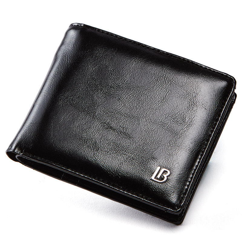 Мужской кошелек Bostanten из натуральной кожи, Короткие Бумажники, двойные деловые бумажники с коробкой, мужские фирменные кожаные бумажники, кошельки с карманами - Цвет: Black