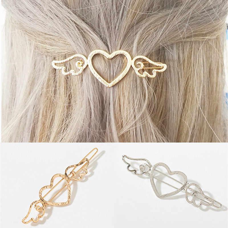 Moda coreano amor asas hairpins metal amor coração cabelo barrettes meninas feminino acessórios para o cabelo titular clipe lateral presente